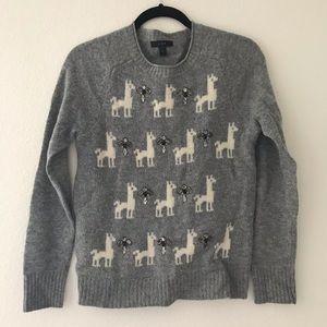 I. Crew Llama Gray Sweater With Jewels